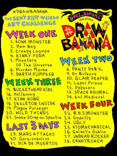 Draw banana challenge Cosmik Havik drawing list